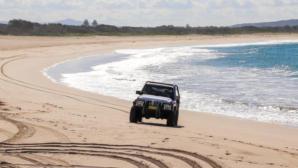 4wd on the beach at Blacksmiths Lake Macquarie