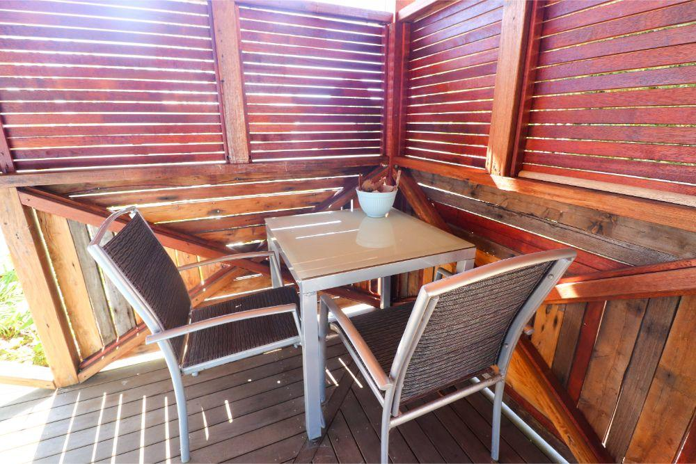 Outdoor dining table at Treasure Island